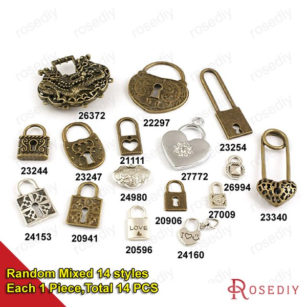 (20596)Vintage Heart Lock Charms Pendants Diy Findings for Jewelry Necklace or Bracelets Making Random mixed style DIY jewelry making