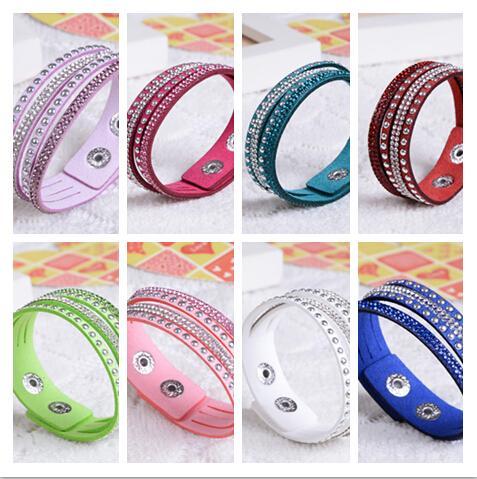 single circle 4 layers shining crystal leather bracelets slake bracelet wristbands genuine leather wrap bracelets leather 10pcs/lot