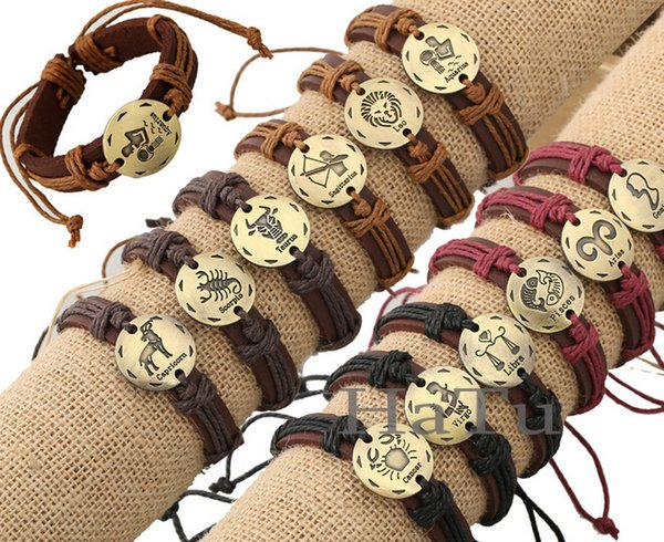 top popular Twelve Constellations Leather Bracelets Leather Wrap Bracelets zodiac Leather Bracelet For Men 2019