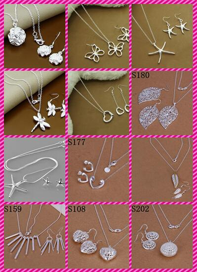 best selling 12 Styles 925 Sterling Silver Fashion Earrings+Necklace Jewelry Set