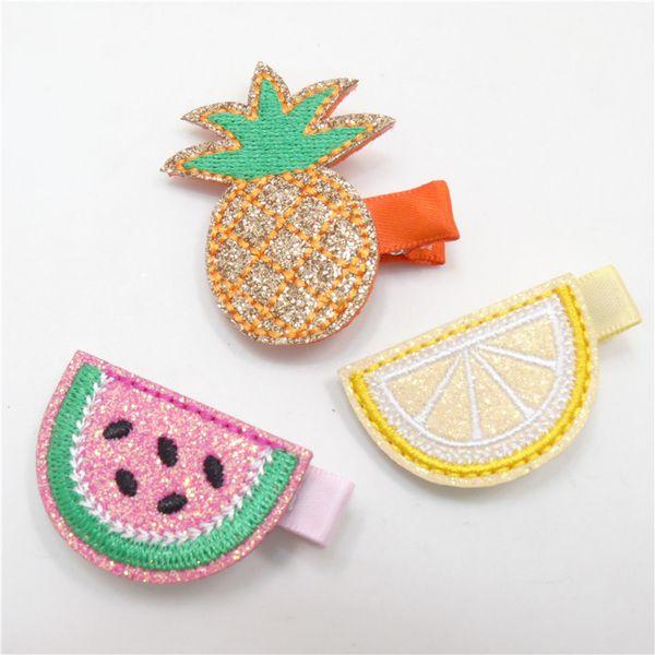 15pcs /Lot Embellishments Glitter Embroidery Pineapple Fashion Hairpins Cartoon Lemon Tropical Fruits Barrette Solid Headwear