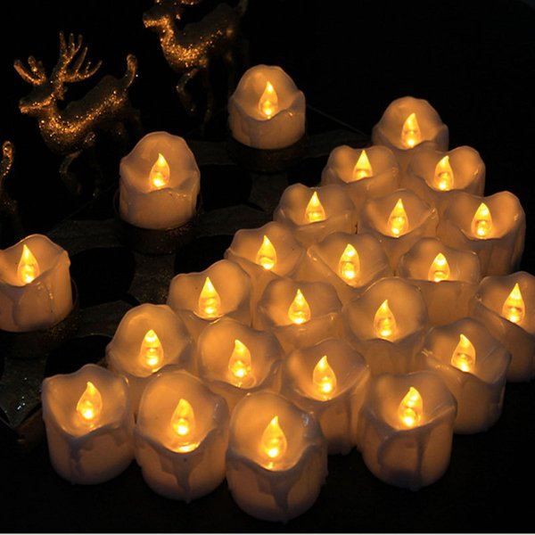 24pcs Led Electric Candle Tealight Flicker Flashing Flameless Pillar Romance Tea Light Christmas Halloween Wedding Decoration