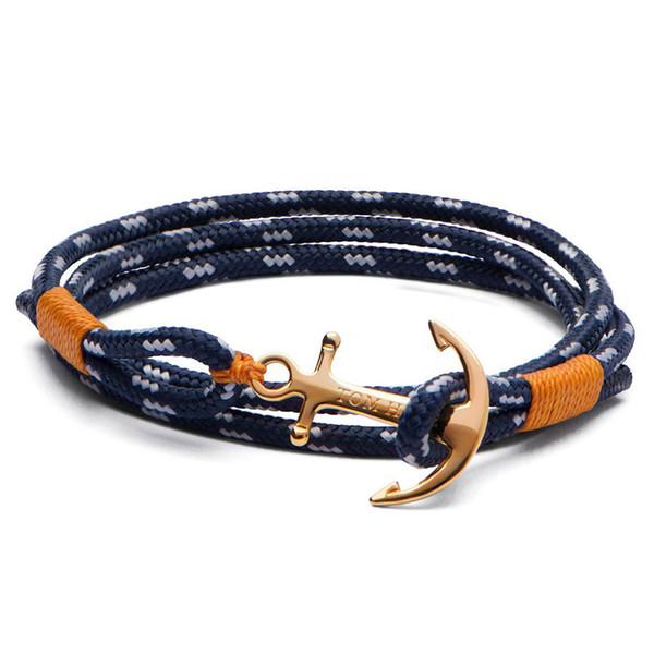 esperança tom famosa marca 4 tamanho encantos âncora Handmade cadeias linha amarela pulseira de aço inoxidável pulseira de ouro com caixa e tag TH14
