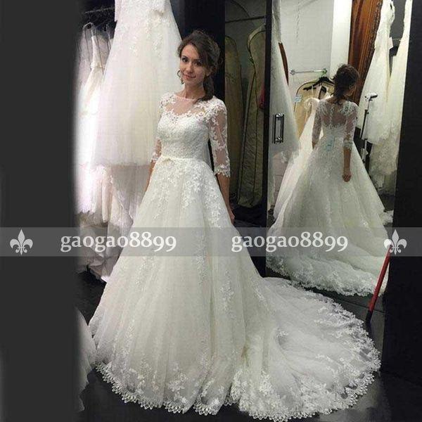 2018 Vintage Lace Modest Country Style Cheap Wedding Dresses Bridal Gowns 3 4 long sleeves plus size illusion A Line robes de soirée