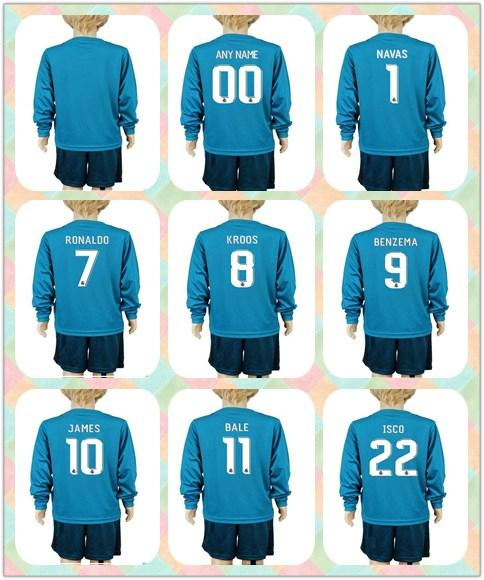 aedf9dd0ece Customized Uniforms Kits Youth kids 2017-2018 Real Madrid Soccer Jersey  11  Bale