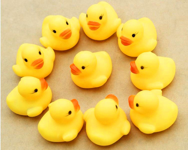 best selling 100pcs Baby Bath Water Toy toys Sounds Yellow Rubber Ducks Kids Bathe Children Swiming Beach Gifts