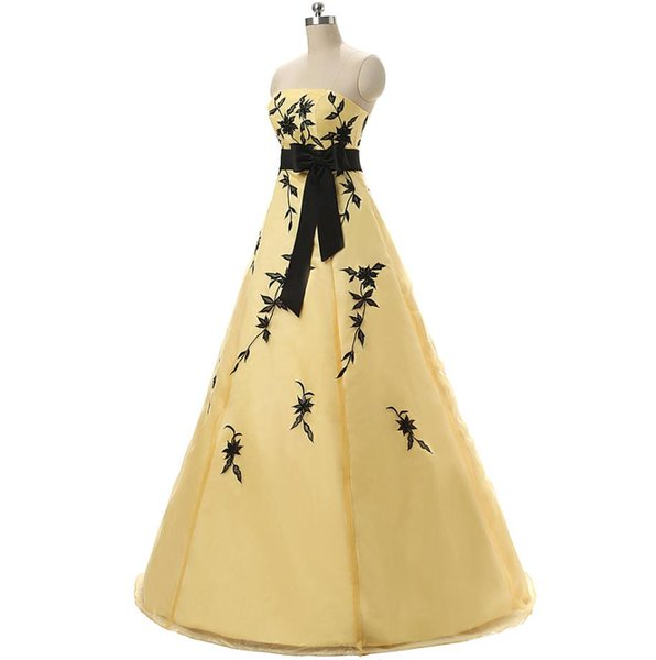 Most Inspired Cheap Quinceanera Dresses 2016 Strapless Yellow Ball Gown Debutante Sweet 16 Girls Masquerade Prom Dress In Stock Real Photos