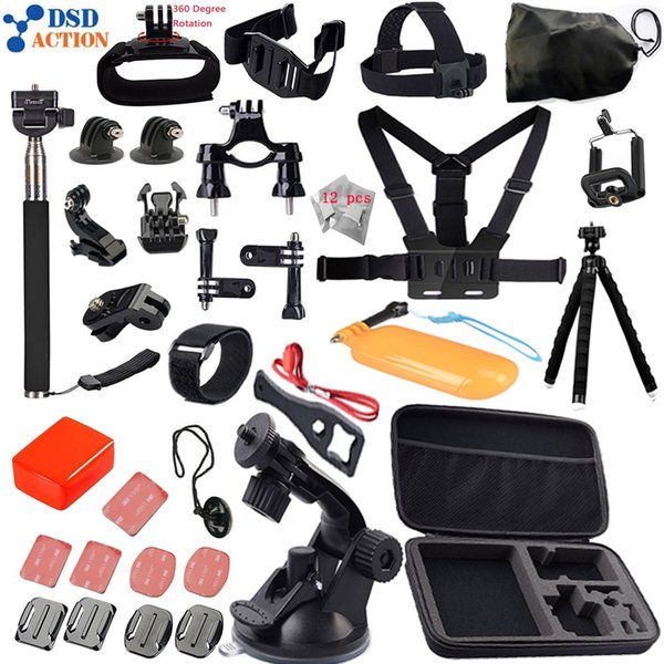 Freeshipping Accessories kit for Go pro Hero 5 4 3+2 Chest Belt Head Mount Strap for xiaomi yi action camera 12D