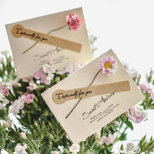 Kraft paper creative card Fake flower greeting card blessing business greeting card Valentine 's Day holiday