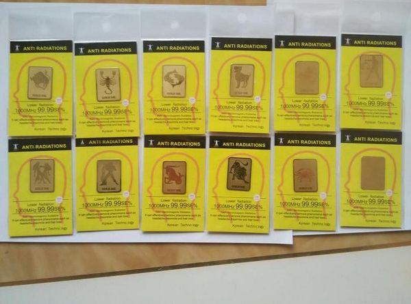 Wholesale zodiac 24K gold mobile phone anti radiation sticker Bio negative ion Scalar Energy sticker12 constellation 50pcs/bag free shipping