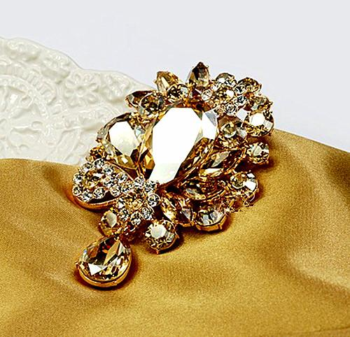 Free Shipping ! Gold Plated 3 Inch Large Champagne Crystal Rhinestone Sparkly Luxury Bridal Pin Brooch for Wedding