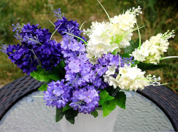 10 Bouquets Artificial Handmade Flor de Jacinto 5 Cabeças Para O Casamento Casa Bouquet De Noiva Decoração
