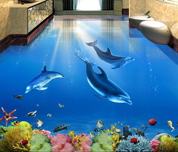 Self-adhesive Wallpaper Dolphin Underwater World 3D living room bathroom floor tile floor to paint