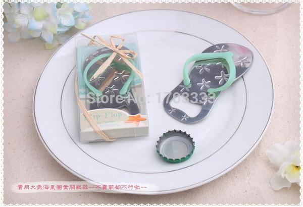 500PCS/LOT Beach theme Flip flop wine bottle opener with starfish wedding favor bridal shower guest gift blue,pink color 0915#15