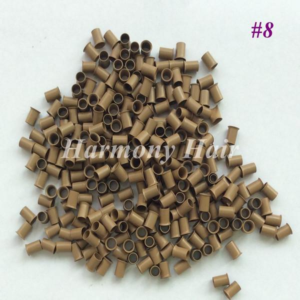Flared Copper tubes for Stick I-tip Hair Euro Locks Micro Links Micro Rings (1000pcs/bottle) 4.0*3.6*6.0mm Dark blonde Color