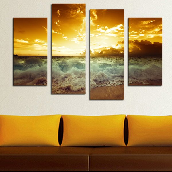 4 Pcs Sea Wave Sunset Canvas Printing Lanscape Unframed Wall Art Picture for Living Room Bedroom Decoration