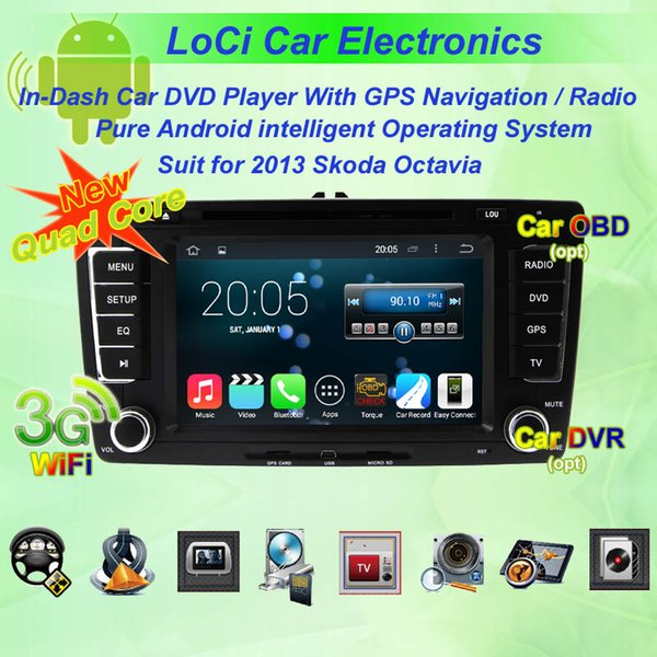 Pure android 4.4.4, Quad Core, Car dvd Multimedia radio android player for Skoda Octavia 2007 - 2009, 2013, gps navigation,TV