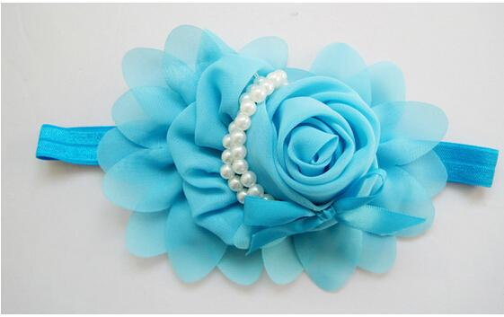 Hot selling Baby Rose Pearl Children Hair Jewelry Headbands,Cute Baby Head Flower,Chiffon Headbands Baby Hair Accessories Flower Hairpin 20p