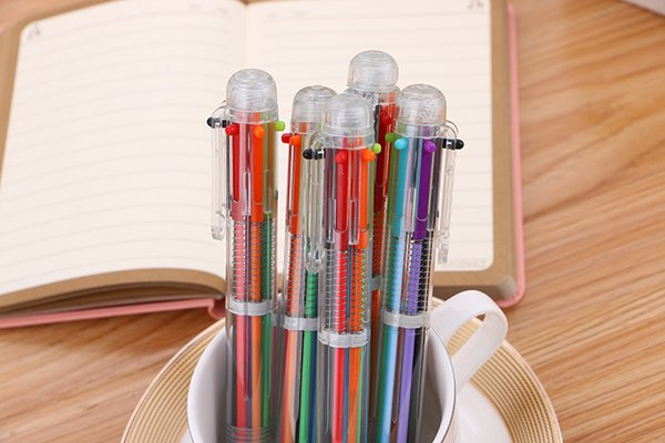 Aillison New Arrival Novelty Multicolor Ballpoint Pen Multifunction 6 Colorful Stationery 0.5mm Clear Neutral Writing Pen