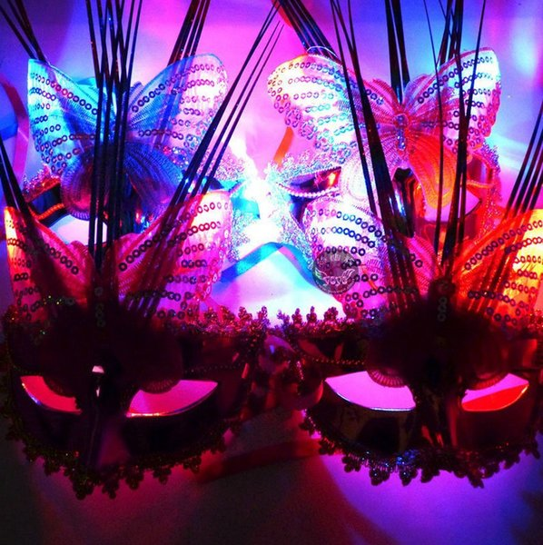 Emitting fiber optic butterfly princess rain sixty-one masquerade masks wholesale birthday party props adult children