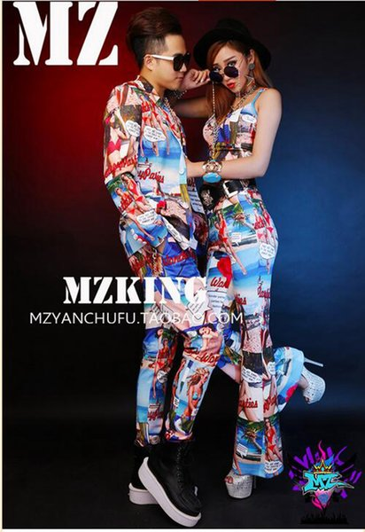 Мужчины-певцы в Европейский и американский клуб моды в Европе и взлетно-посадочной полосы выглядит синий костюм бикини костюмы. S - 6 xl