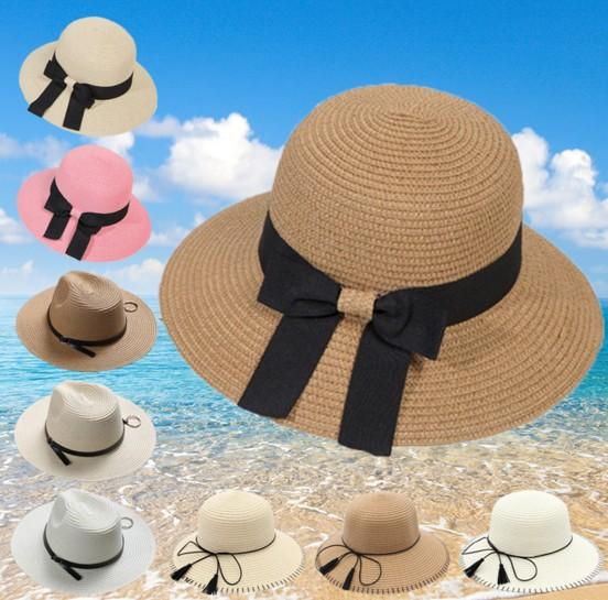 Fashion Big Straw Beach Hats With Bow Ladies Wide Brimmed Vietnam Floppy Foldable Sun Hat Women Caps Elegant UA Protect Summer Sun Visors