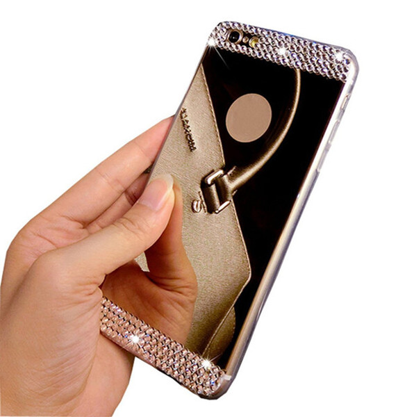For iPhone7 Luxury Handmade Bling Diamond Mirror Soft TPU Silicone Case Back Cover for iPhone5 5S/iPhone6 6s/iPhone6 6s plus, Free Shipping