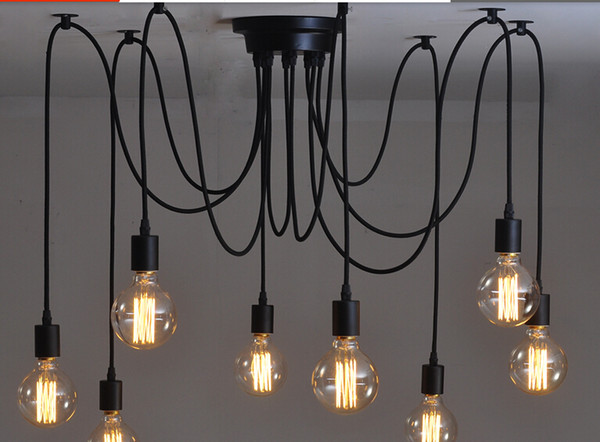 top popular Free Shipping 6 8 10 12 14 heads Amercian vintage pendant light hanging lamp black vintage E27 40 W Retro pendant lights 2021