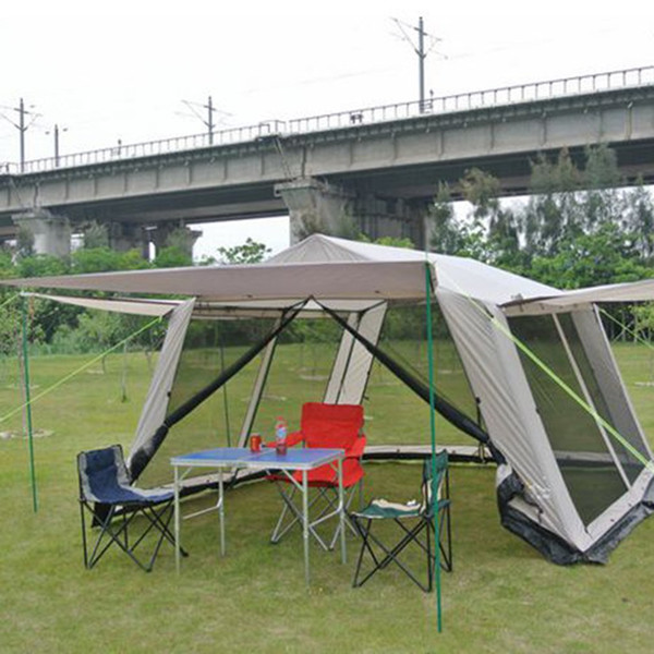Wholesale- Mat-awning Waterproof Polyester Outdoor Camping hiking Tent 4 Corners Garden Arbor Leisure Party Beach Picnic Awning Shelter NEW