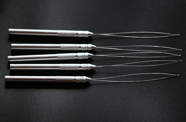 20pieces/lot Aluminium Thread Hook Tool Needle Loop Micro Ring Hair Extensions beads