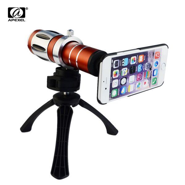 APEXEL 20x Optical Zoom Aluminum Telephoto Telescope . Kit + Tri+Back Case for iPhone 7 Mobile phone Camera .es CL-35 lens