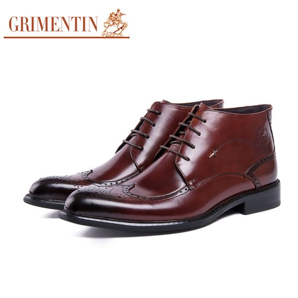 GRIMENTIN Hot sale brand men boots Italian fashion genuine leather black brown dress mens ankle boots for high quality formal mens shoes