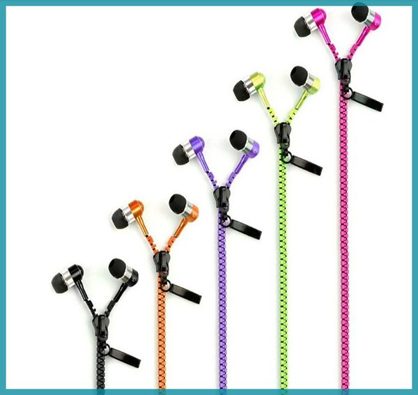 zipper earphone with 3.5mm round head and microphone Control Talk Metal Earphones for cell phone iphone Sansung vs hbs700 730 free shipping