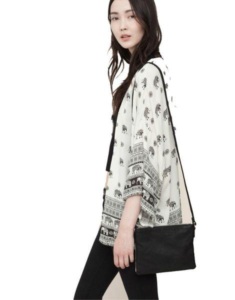 W1029 Bestseller Frauen Elefant gedruckt halben Ärmel Kimono Strickjacke Mantel Tops Bluse vertuschen 51015