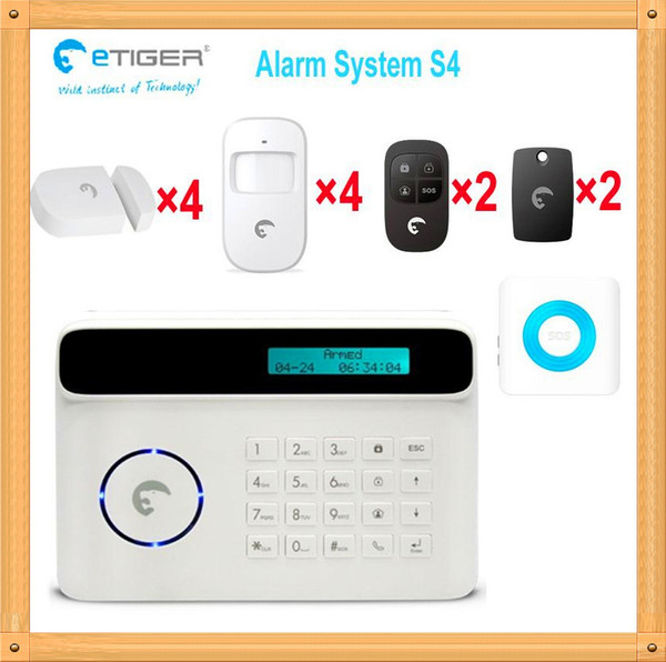 Free Shipping DHL, New 4 PIR motion/4 Door Sensors Wireless Home GSM Security Alarm System support Android&Apple APP