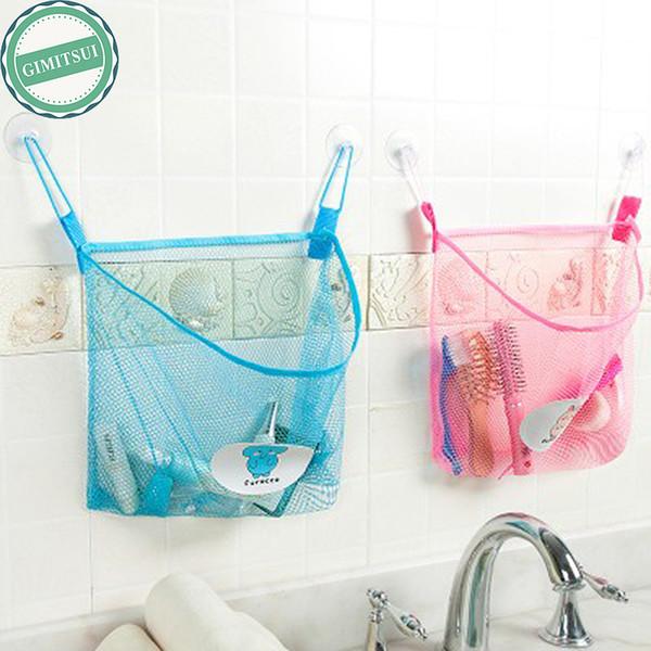 Wholesale- Home Bathroom Suction Net Bag Bath Baby Kid Storage Organizer Tidy Toy Mesh Storage Bag Organizer Holder Bath Stuff Net Funky