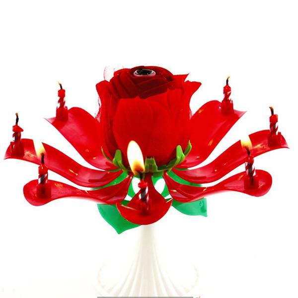Candela a forma di fiore di rosa Bougie Plastica non tossica Petali multistrato Torta Decorazioni Forniture Regalo per feste Candele musicali rotanti Lampada 3 88sR DA