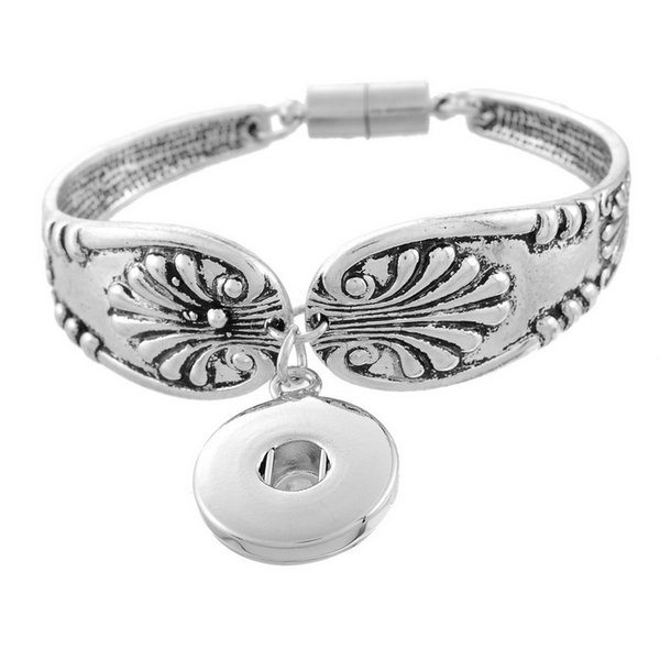 free shipping 5pcs/lot Snap Bracelet cuff bangles Fit Snap Button Carve Flower Magnetic Tube Bar Clasp 19cm Fashion Jewelry
