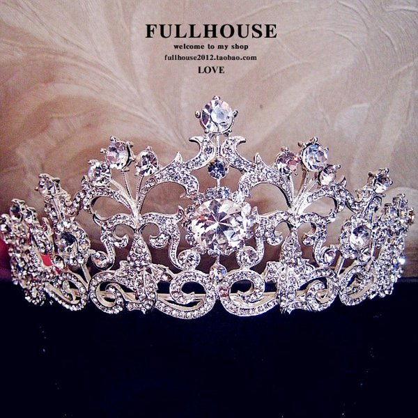 In Stock !!2015 Luxury Wedding Bridal Emperial Cown Hot Sale Wedding Accessories Fancy Shining Crytal Tiaras & headdress Free shipping
