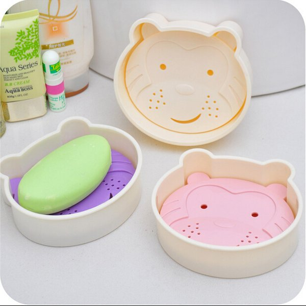 Creative Fashion Practical Bathroom Cute Cartoon Monkey Soap Box Double Drop Soap Dish Soap Holder Soap Case Container New WD24