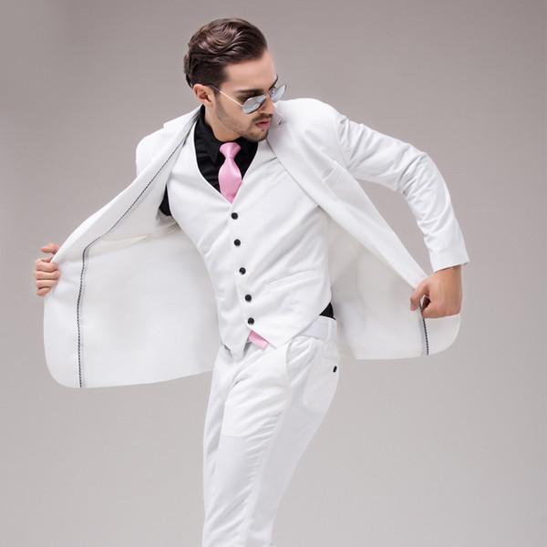 Coat/Vest/Pants Men White Wedding Dress Suit Slim Groom Classic ...