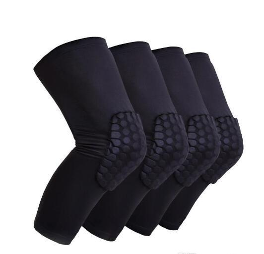 2018 retail 2pcs Honeycomb Knee Pads Bumper Crashproof Football Basketball Leg Sleeve Sports Kneepad Protector Kneelet Brace Free Shipping