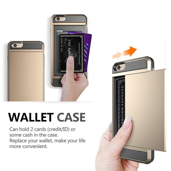 Impact Resistant Wallet Case Anti-scratch Protective Shell Shockproof Rubber Bumper Cover Card Slot Holder for iPhone 6 6s 4.7inch