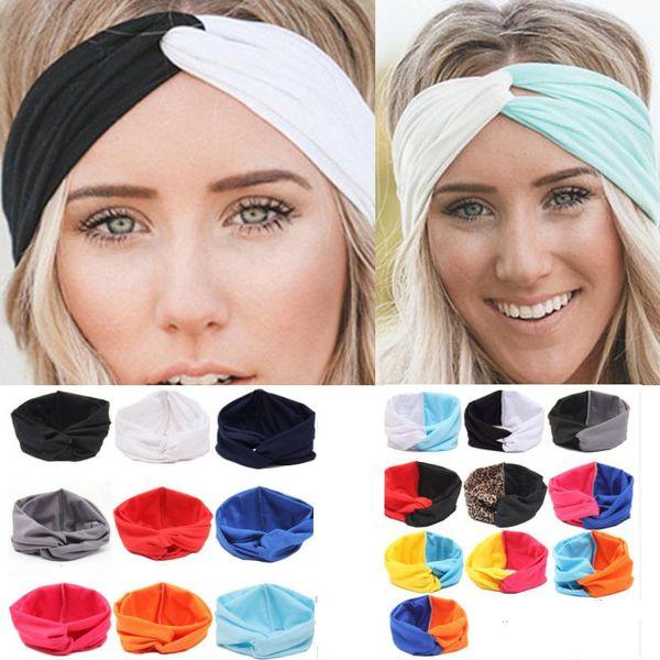 Hot Sales New 19 Colors Solid Twist Sport Fashion Yoga Stretch Headbands Women Turban Bandana Head wrap Hair Accessories