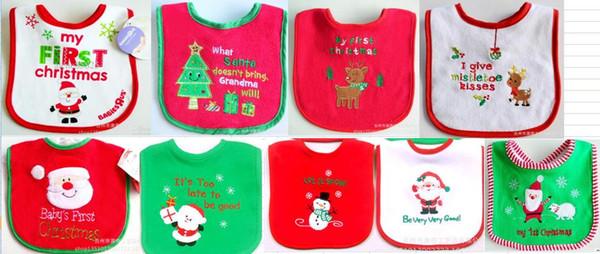 2015 yeni 10 adet bebek Noel önlüğü Işlemeli Havlu kumaş su geçirmez önlüğü pamuk havlu / Bebek ve çocuk tükürük havlu bebek önlükler