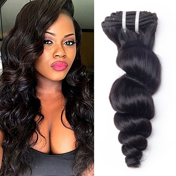 Human Hair Weave Loose Wave Clip Ins Brazilian Virgin Hair Extensions 10pcs/lot 100g/lot Natural Color Loose Wave Hair