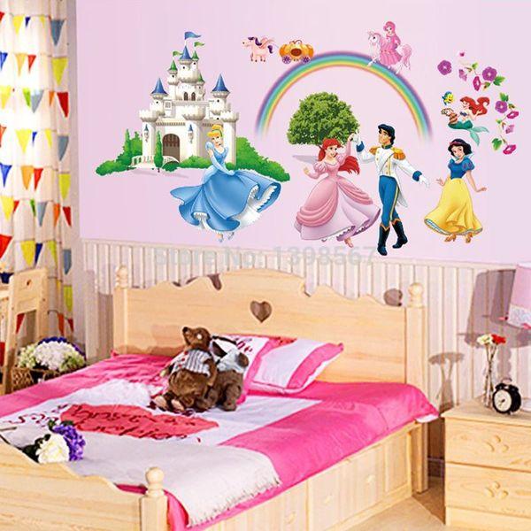 Cartoon Snow White Cinderella And Prince Little Mermaid Fairy Tale DIY Wall  Sticker Mural Decal Decorative