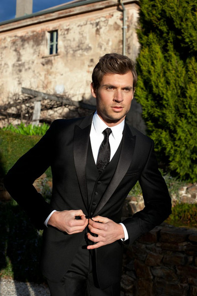 men formal tuxedo for wedding dress black custom made suits groom wear high quality 3 piece suits