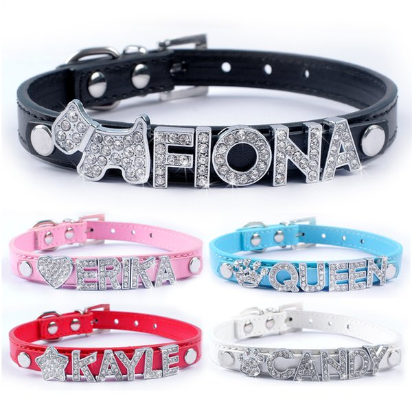 5 color cu tomized leather dog collar per onalized diy name dog collar for 10mm letter and charm