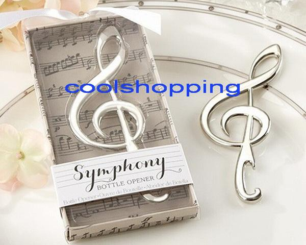 "best selling DHL Freeshipping Unique Wedding Favors ""Symphony"" Chrome Music Note Bottle Opener wedding gift"
